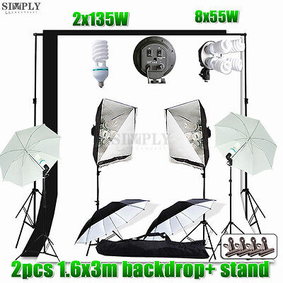 Photography Studio Softbox Continuous Lighting Umbrella Light Stand Backdrop Kit