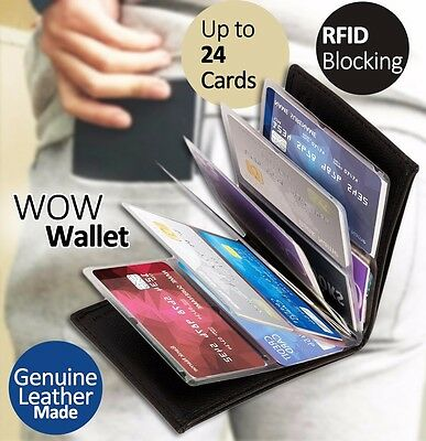 Genuine Leather Wow Card Wallet Black Slim Half Thickness RFID Blocking Compact