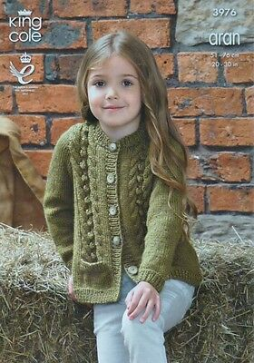 KNITTING PATTERN Girls Long Sleeve Bobble & Cable Cardigan Aran King Cole 3976