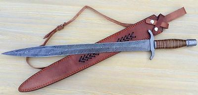 Damascus Steel Blade Norman Period Sword,Damascus Hilts,Leather Handle