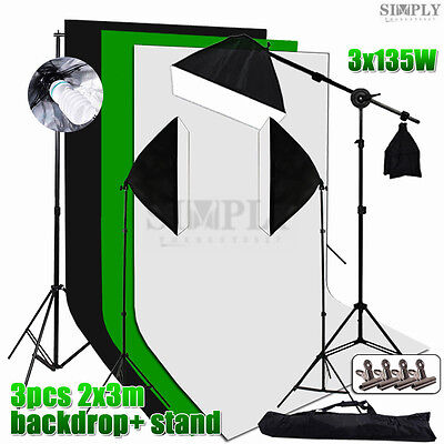Photo Studio Video Softbox Continuous Lighting Boom Arm Light Backdrop Stand Kit