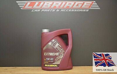 Extreme MANNOL 5w40 Fully Synthetic Engine Oil ACEA A3/B4 VW 502 505 MANNOL 5L