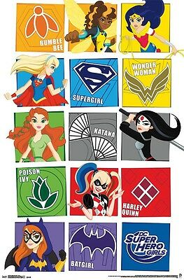 DC SUPERHERO GIRLS - CHARACTER GRID POSTER - 22x34 COMICS 14076