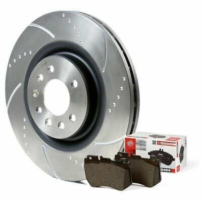 Honda Civic 2.0 Type R Front Rear Dimpled Grooved Brake Discs & EBC Pads FN2