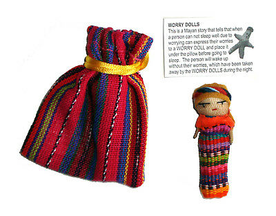 Worry Doll - SINGLE BIG WORRY DOLL in TEXTILE BAG - PINK