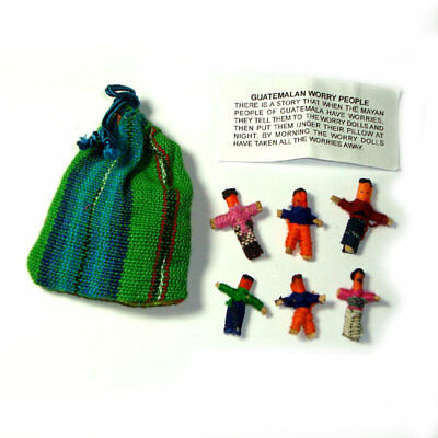 Worry Doll - 6 X MINI WORRY DOLLS in TEXTILE BAG - Green
