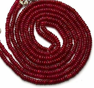 """Natural Gem Ruby 3MM Approx. Rondelle Heishi Beads Necklace 18"""""""