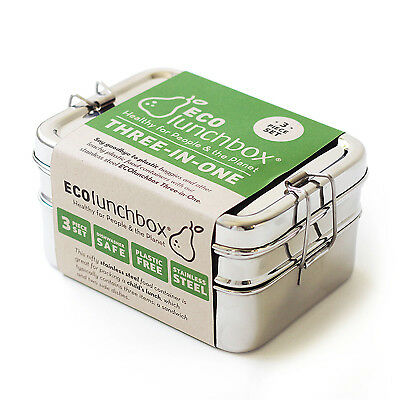 ECOlunchbox Three in One Stainless Steel Food Container Set