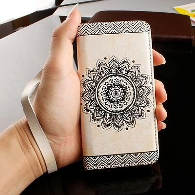 Genuine PU Leather Magnetic Flip Stand Phone Case Wallet Silicone Bumper Cover