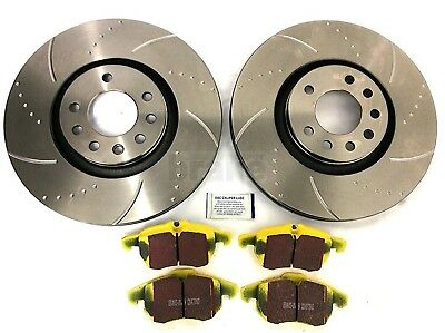 Astra Turbo VXR Front Dimpled Grooved Brake Discs with EBC Yellowstuff Pads