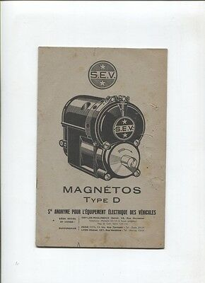 N°8876 /  manuel technique magnéto type D pour moteur automobile-aviation  S.E.V