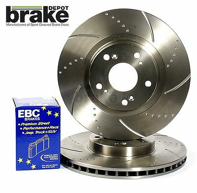 Skyline 2.5 R33 GTS-T Rear Dimpled Grooved Brake Discs with EBC Redstuff Pads