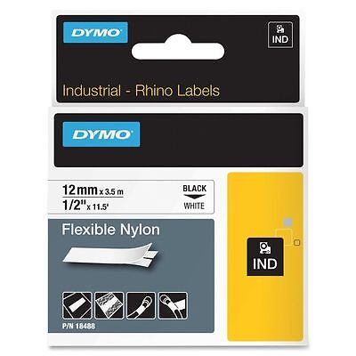 "DYMO 18488 RhinoPro Flexible Tape 1/2"" Blk/Wht - Authorized Dymo Dealer"