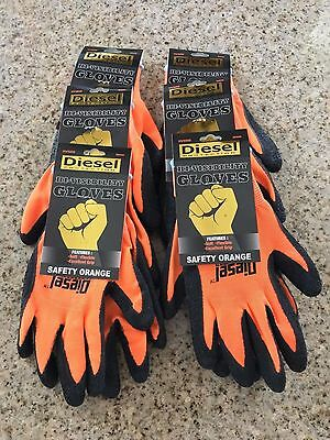 6 Pairs ORANGE Diesel HI-VISIBILITY Latex Grip General Purpose Work Gloves