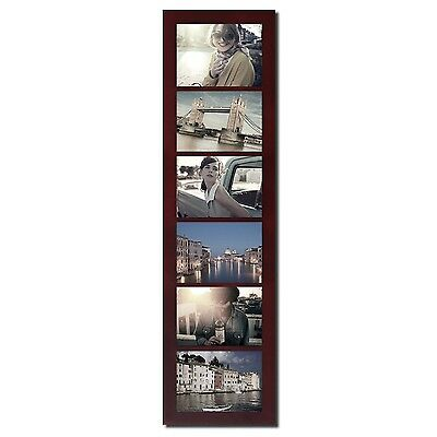 """Adeco 6-Opening 5x7"""" Walnut Color Wood Wall Hanging Divided Picture Photo Frames"""