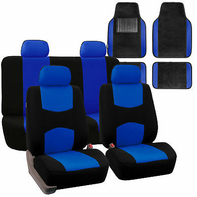 Blue Black Car Seat Covers Full Set For Auto W 4 Headrests