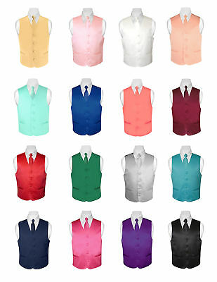 BOY'S Dress Vest and Boys NeckTie Solid Color Neck Tie Set for Suit or Tuxedo