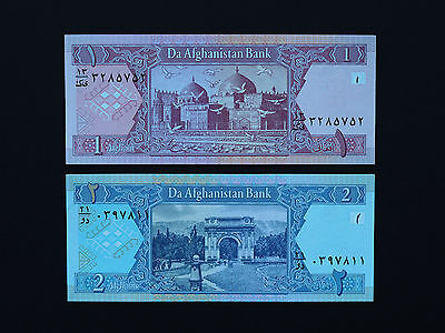 Asia - Afghan Banknotes  - Set Of Two -   1 & 2 Afghanis  -  Beautiful Unc Notes