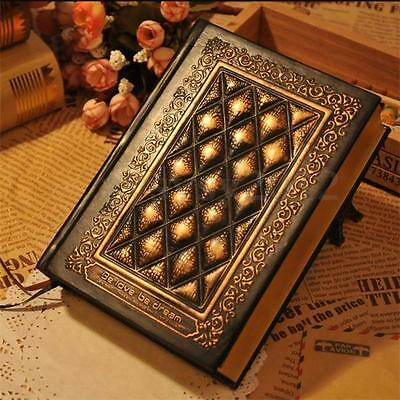 Retro Vintage Classic Plaid Leather Black Golden Framed Diary Notebook Journal
