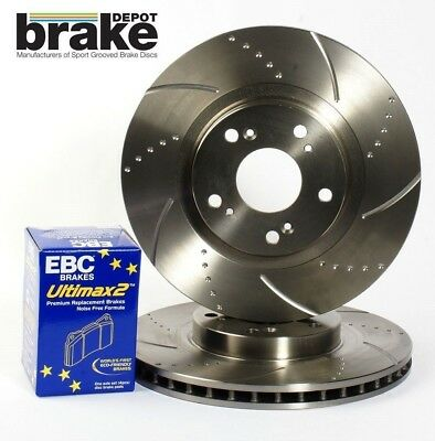 Renault Clio 197 Front Evora Dimpled & Grooved Brake Discs & EBC Ultimax Pads