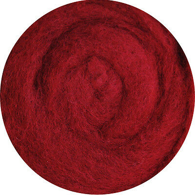 Carded Roving Wool Felting Spinning Craft Hand Needle Felt - Red Violet Claret