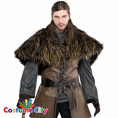 Adults Medieval Warrior Fur Shoulder Cape Fancy Dress Costume Accessory