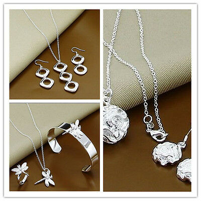 Brand New Jewellery Solid 925 Silver Necklace Earring Bracelet Ring Jewelry Set