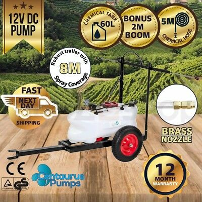 CENTAURUS 60L 12V ATV Garden Weed Sprayer Pump Tank Spray Boom Trailer Spot Wand