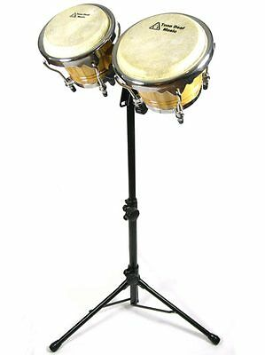 "BONGO DRUMS & STAND pro 7"" 9"" bongos adjustable latin hand drum percussion LARGE"