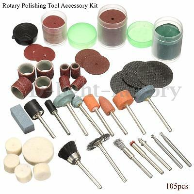 105pcs Rotary Tool Accessory Kit For Polishing Crafting Hobby Drill Fits Dremel