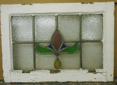 """OLD ENGLISH LEADED STAINED GLASS WINDOW Pretty Floral 20.5"""" x 14.75"""""""