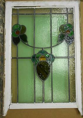 "EDWARDIAN ENGLISH LEADED STAINED GLASS SASH WINDOW Floral Scene 22.5"" x 31"""