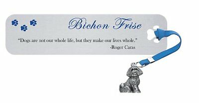 Bichon Frise Silvertone Bookmark Dog Breed Charm Blue Ribbon