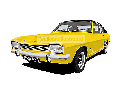 Ford Capri Mk1 (Facelift) Car Art Print Picture (Size A4). Personalise It!