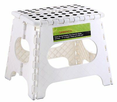 """Greenco Super Strong Foldable Step Stool for Adults and Kids, 11"""", White-GRC0050"""