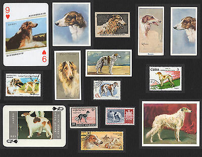 15 Borzoi Collectable Dog Cigarette Trade / Breed Cards And Stamps