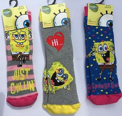 1  pair Girls slipper Socks with SpongeBob detail in 3 Varieties.