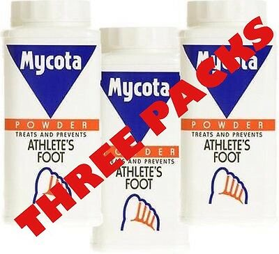 THREE PACKS OF MYCOTA ATHLETE'S FOOT POWDER 70g Expiry 09/17, BEST PRICE ON EBAY