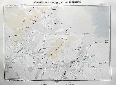 SOUTH AMERICA  - BRAZIL - MOUTH AMAZON   Original 1894 Antique Victorian Map