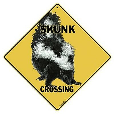 """SKUNK Crossing Sign, 12"""" on sides, 16"""" on diagonal, Indoor/Out-Aluminum"""