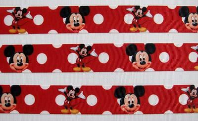 """BB Ribbon MICKEY MOUSE RED SPOT 1m grosgrain 7/8"""" scrapbooking hair bows"""