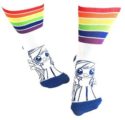 My Little Pony Rainbow Dash Cartoon White Juniors Striped Crew Socks Womens Logo