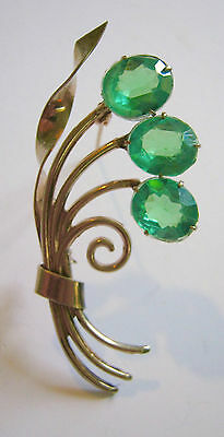 Vintage Pin 1940's Green Glass Flowers in Bunch Goldtone Metal