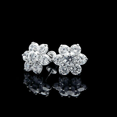 1CT Created Diamond Floral Cluster Earrings 14k White Gold Round Studs Screwback