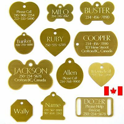 Brass Pet Tag Dog Diamond Engraved Bone Heart Circle Octagon Military Slide On