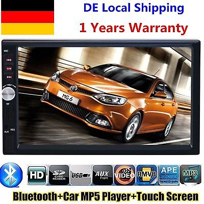 "2 DIN Autoradio 7"" Bluetooth Touch Screen MP3 MP5 Player Stereo Audio In-Dash FM"