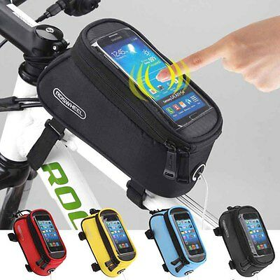 "Roswheel 5.5"" Bike Bicycle Cycling Frame Pannier Front Tube Phone Bag Waterproof"