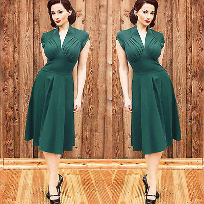 Fashion Ladies Solid Vintage Style V Neck Swing Ball Gown Cocktail Evening Dress