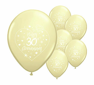 "10 x 30th PEARL ANNIVERSARY 12"" HELIUM QUALITY PEARLISED BALLOONS (PA)"
