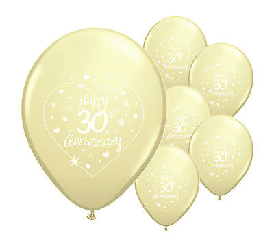"""8 x 30th PEARL ANNIVERSARY 12"""" HELIUM QUALITY PEARLISED BALLOONS (PA)"""